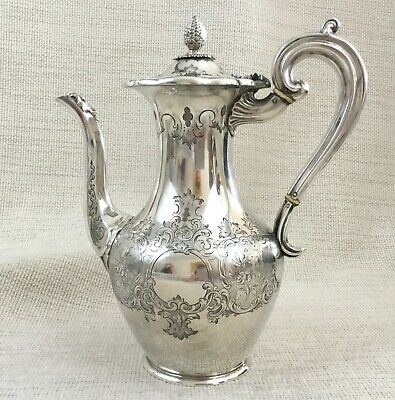 Large Antique Coffee Pot Jug Old Sheffield Silver Plate Ornate Victorian Design