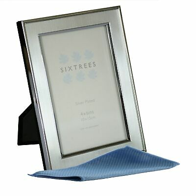Sixtrees Abbey 2-102-46 Silver Plate and Pewter Inlay 6x4 inch Photo Frame.