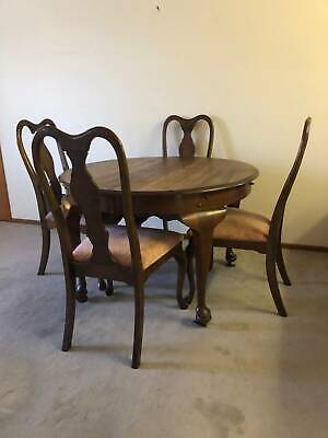 Antique Dining Table and Chairs with two leaf extensions