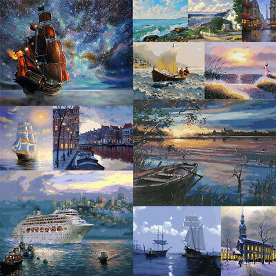 DIY Paint By Numbers Kit Digital Oil Painting Art Wall Home Decor Ship Scenery