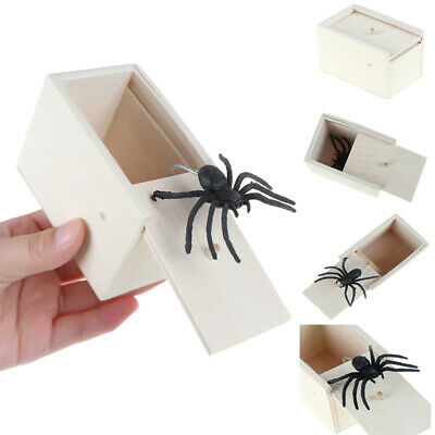Funny Scare Box Wooden Prank Spider Hidden in Case Joke Gag Toy Halloween Gift^F