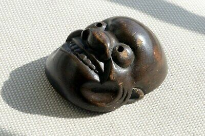 Large O-Tobide demon wood netsuke mask Antique 19th century Japanese