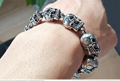 925 Sterling Silver Skull Mens Biker Gothic Bangle Bracelet jewelry 23cm S4004