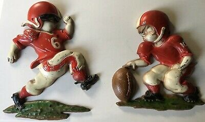 2 Sexton 1970 Children Cast Metal Football Wall Hangings Mid Century