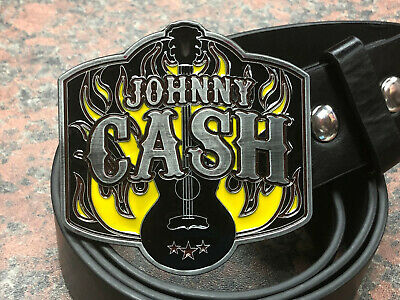 JOHNNY CASH logo BUCKLE + FREE Belt country music western style man in black NEW