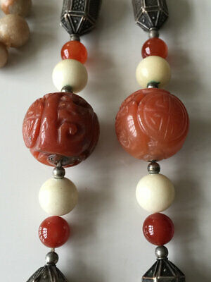 Superb Vintage Chinese Carved Carnelian Shou Jade Agate Bead Necklace 109G