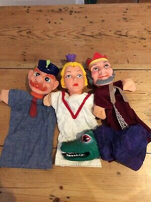 4 Vintage Punch and Judy Rubber Hand Puppets