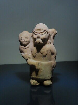 Pre Columbian Whistle Rattle Figure Pair Jaina Mayan ceramic wTL test Report!
