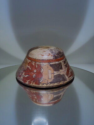 pre columbian ceramic Nazca blood bowl trophy head flying god deity offering