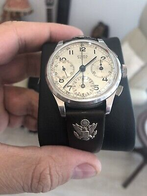 MILITARY WATCH 1930s 1940s CYMA PILOT STEEL CHRONOGRAPH VINTAGE SERVICED