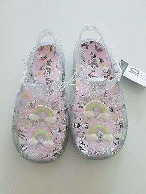 Girls Primark Unicorn Glitter Jelly shoes Infant Size 10. Rainbows.  Brand new.