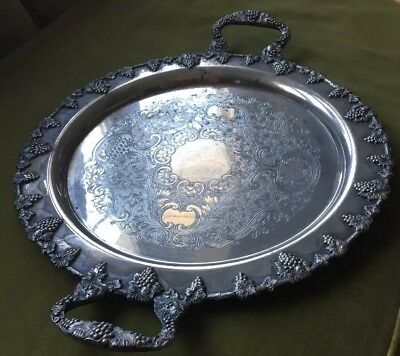 """LARGE 19"""" Antique Silver on Copper Butler's Hostess Tray Grapes Leaves Vines"""