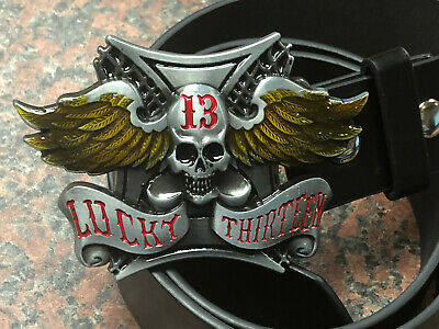 LUCKY 13 logo BUCKLE with Free Belt Winged skull metal western style NEW