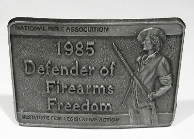 Big Vintage 1985 in New Condition NRA Defender of Firearms Freedom Belt Buckle
