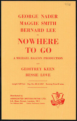 NOWHERE TO GO 1958 George Nader, Maggie Smith EALING STUDIOS UK SYNOPSIS