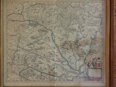 Original Colored Engraved Map of Hungary Hungaria by De Witt in 1666 24x21