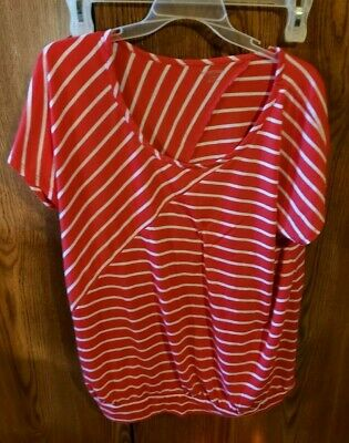 Motherhood Maternity Red And White Striped Short Sleeve Top. Size 1X