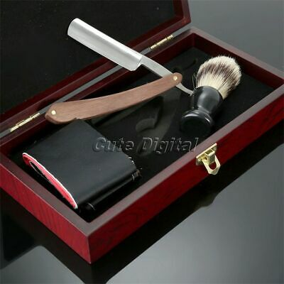 Beech Wood Handle Straight Razor Shaving Brush Leather Strop & Wooden Gift Box