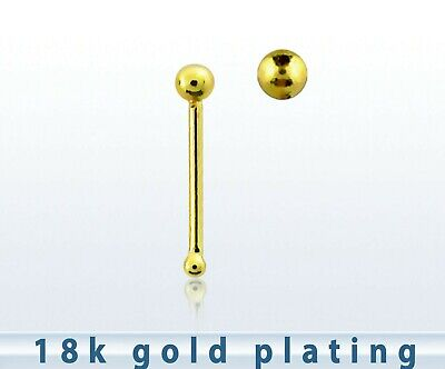 Tiny Sterling Silver Ball Nose  Stud 18Ct Gold Plated Bobble End 70