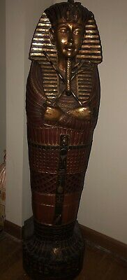 Ancient Egyptian King Tut Sculptural Hidden storage Compartment Handcrafted Wood
