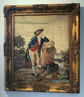 19th Century Antique TAPESTRY EMBROIDERY Man Dog LARGE Wooden Ornate Gilt Frame