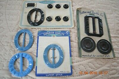 Lot of vintage Plastic Buttons and Belt Buckles on original Cards