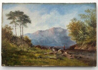 A.W. Bibbs Signed Circ 1870 Antique Oil Painting on Canvas North Wales landscape