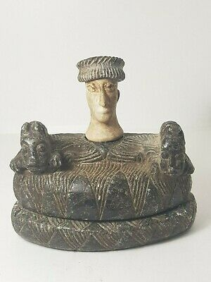 Very old bactrian chloride stone composite statue with animal guards figurine