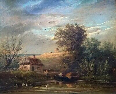 Constable Style Original 19th Century Oil Painting English River Farm Landscape