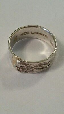 Sterling Silver 925- 18K Yellow Gold Leigh Linton Abstract Modernist Band Ring