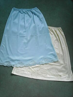 Underskirts x 2 retro circa 1980's blue and cream, lace hem one M&S lable
