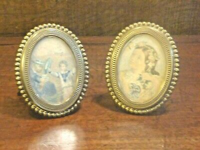 EXCELLENT ANTIQUE PAIR of SMALL BRASS FRAMES - BAXTER PRINT HRH PRINCE OF WALES