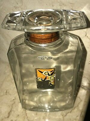 RARE LARGE 1920s BRONNLEYS JASMIN BATH SALT ANTIQUE CRYSTAL GLASS PERFUME BOTTLE