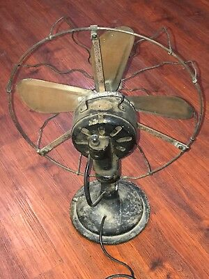 Emco Antique Electric Cast Iron Brass Vintage Desk Wall Mount Fan Nt Ge Marelli