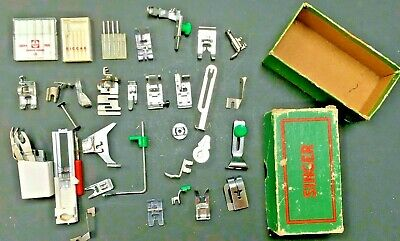 Vintage Singer Sewing Machine Green Box Footers Parts / Needle / Accessories