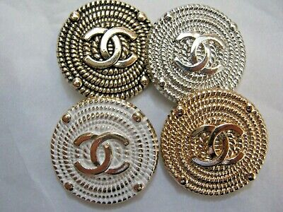 Chanel 4 buttons  23mm lot of 4 GOLD SILVER WHITE CC LOGO
