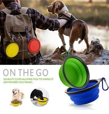 Cat Dog Pet Travel Bowl Collapsible BPA Free Small Food Water Non Slip Portable