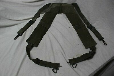 US Military Issue Vietnam Era M1956 Canvas Pistol Belt H Suspenders Large LongA5