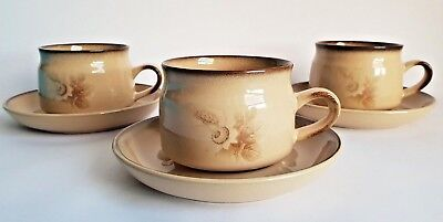 Vintage Denby 'Memories' Cups & Saucers x 3, Designed by Claire Bernard in 1984