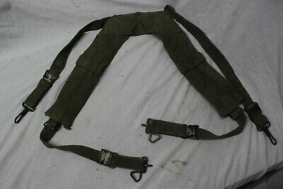 US Military Issue Vietnam M1956 Canvas Pistol Belt H Suspenders Large Long A14