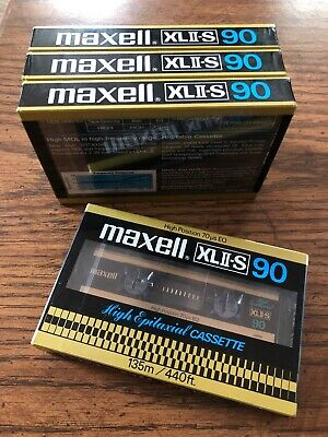 Set of 4 New Sealed Maxell XLII-S 90  Cassettes Tapes Type II Made In Japan