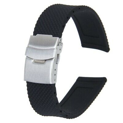 Watch Bands Sport Black Silicone Rubber Watch Strap Deployment Buckle Water N3D3