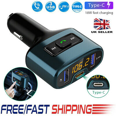 Bluetooth Wireless Handsfree Car FM Transmitter MP3 Player Type-C Charger Kit UK