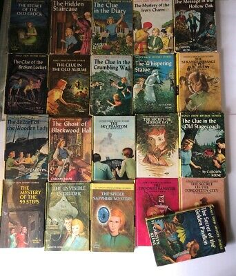 Set of 21 Vintage Nancy Drew Books Matte Yellow Picture Covers 1948-1977