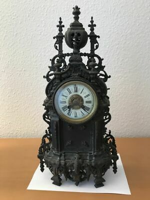 Rare large antique French Empire bronze clock - mid 19th century, 20 in.