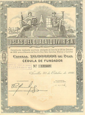 Islands of Guadalquivir > 1926 Seville Spain Islas de bond certificate