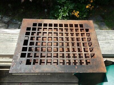 Antique Cast Iron Floor Grate~Heat Vent~ W/ Working Damper~Pat.Date -1900-1901