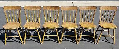 Antique Sponge Paint Windsor chairs Mustard Yellow Spindle 19th c 1800 hithcock