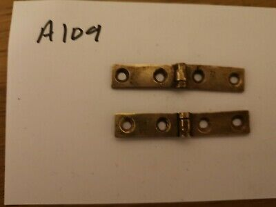 Pair of brass strap hinges for antique writing slope.