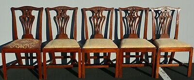 Antique 18th c Chippendale Mahogany Dining Hall Chairs Early American 1700's WOW